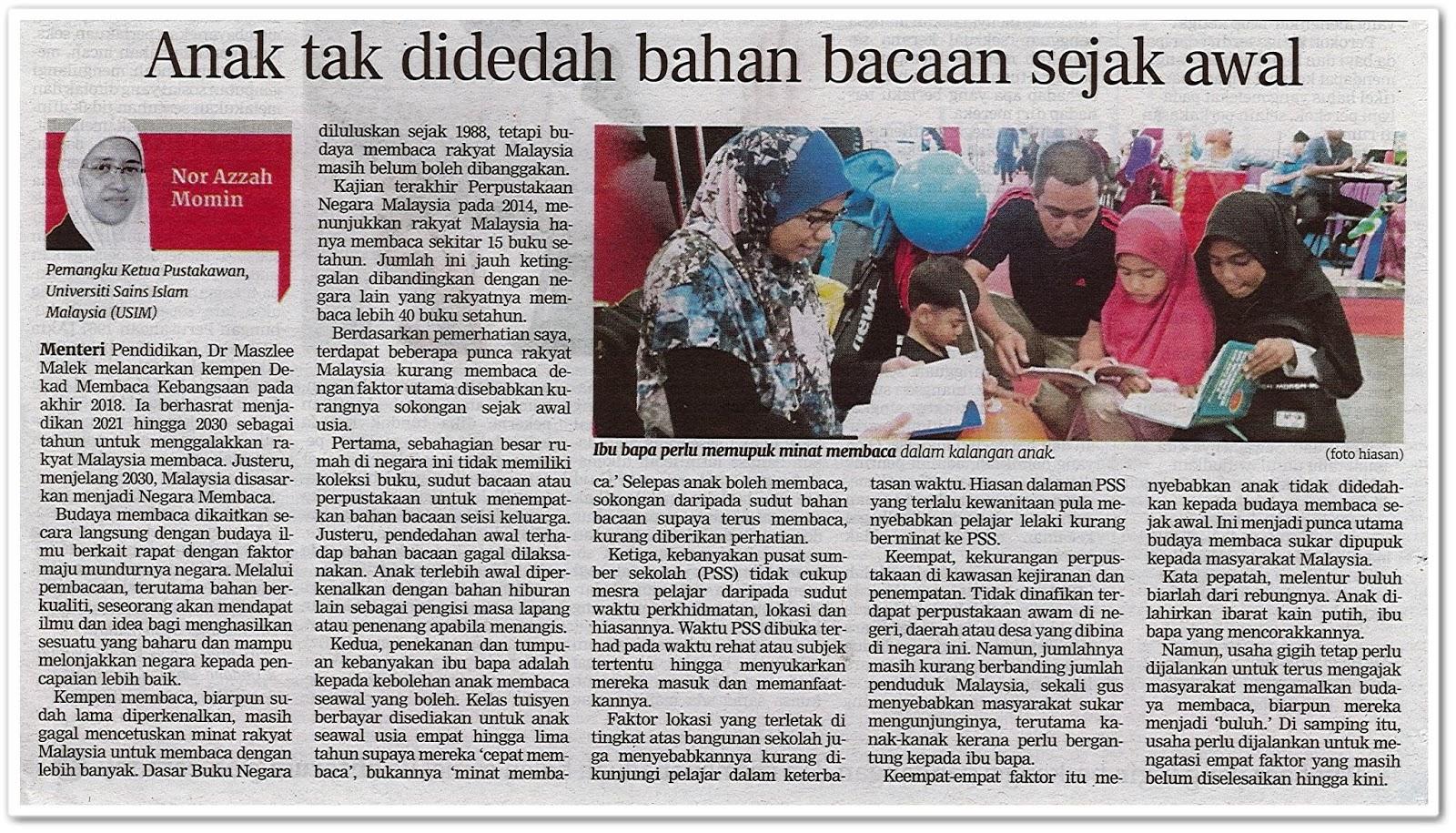 Anak tak didedah bahan bacaan sejak awal - Keratan akhbar Berita Harian 5 Ogos 2019