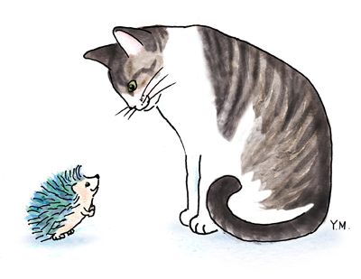 Cat and a porcupine by Yukié Matsushita
