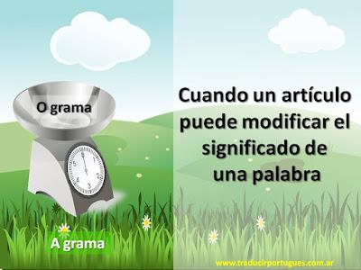 O grama, a grama, portugués, el gramo, el césped