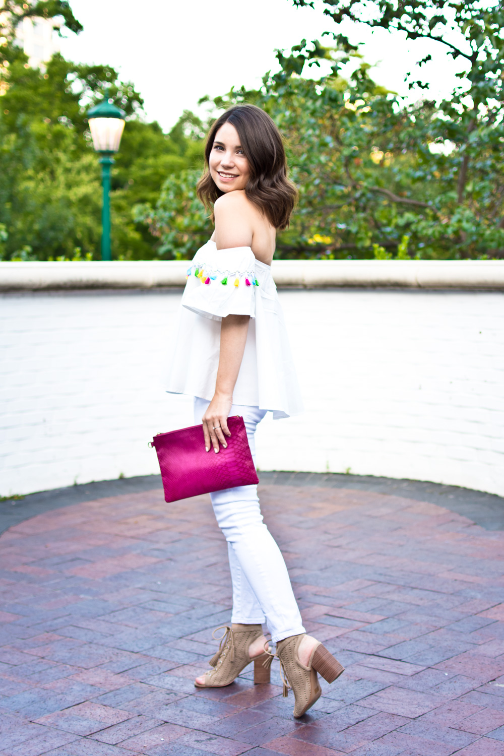 white skinny jeans and white off the shoulder top