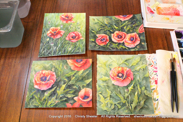 Watercolor poppies artwork series Christy Sheeler artist