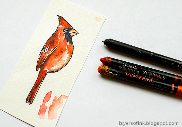 Layers of ink - Cardinal Tag Tutorial by Anna-Karin Evaldsson. Color with Scribble Sticks.