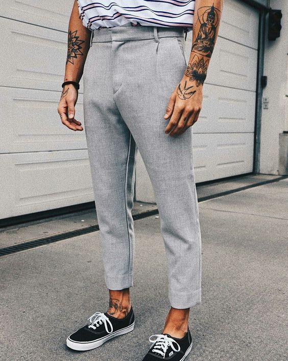Tendências masculinas 2018 Calça cropped