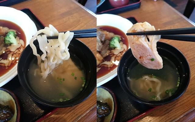 ミニサイズの沖縄そばの麺と出し巻玉子の写真