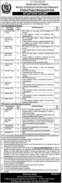 Jobs in minstery of food security and research contract and regular jobs