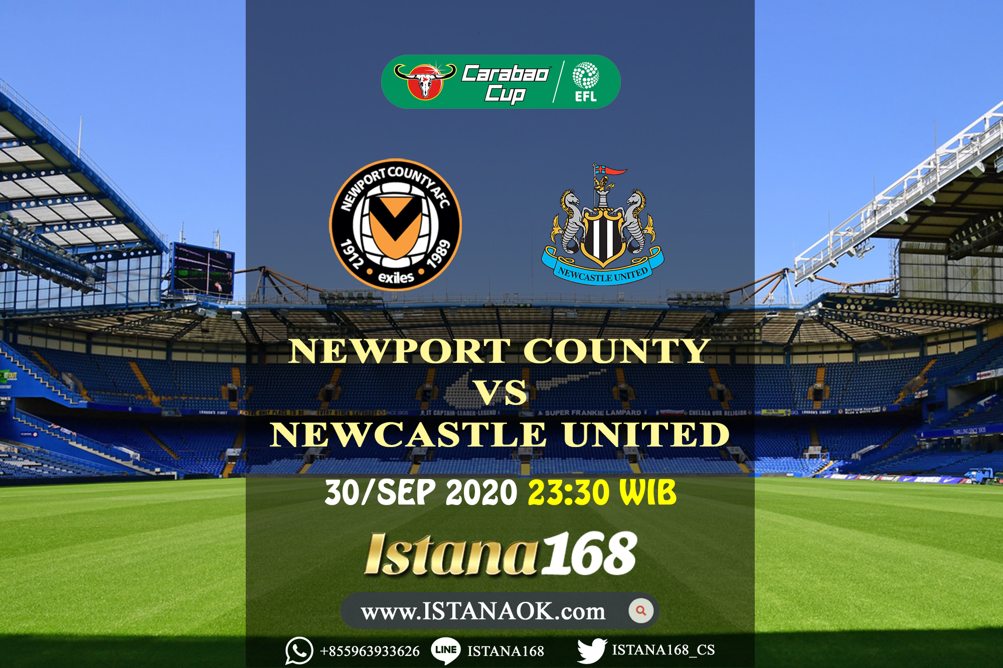 Prediksi Bola Akurat Istana168 Newport County Vs Newcastle United 30 September 2020