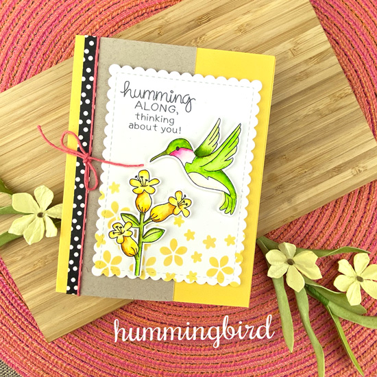 Hummingbird Card by Jennifer Jackson | Hummingbird Stamp Set, Butterflies Stencil Set, and Frames and Flags Die Set by Newton's Nook Designs #newtonsnook #handmade