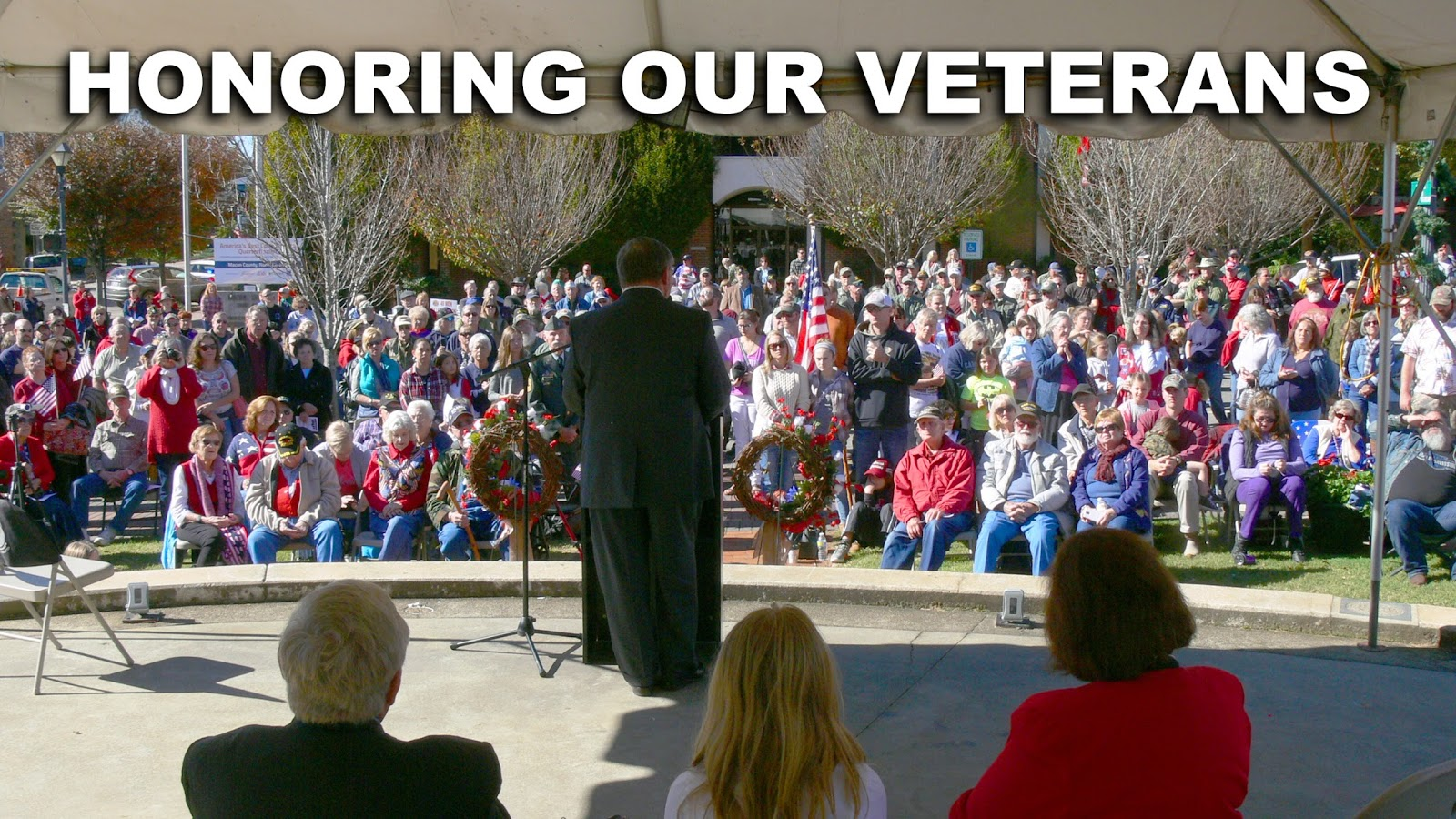 Retired Air Force Officer Gary Dills delivers the keynote address at the 2015 Veterans Day Ceremony in Franklin