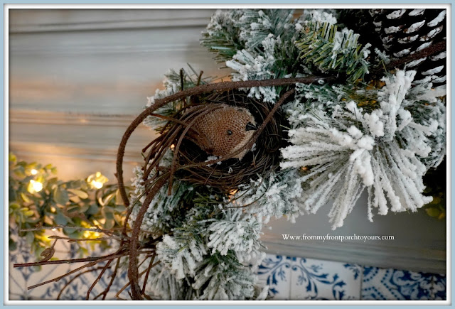 Winter- Fireplace- Mantel -Design-Nest-Blue & White-Decor-Cottage-Style-Farmhouse-Style-French Farmhouse-French Country--From My Front Porch To Yours