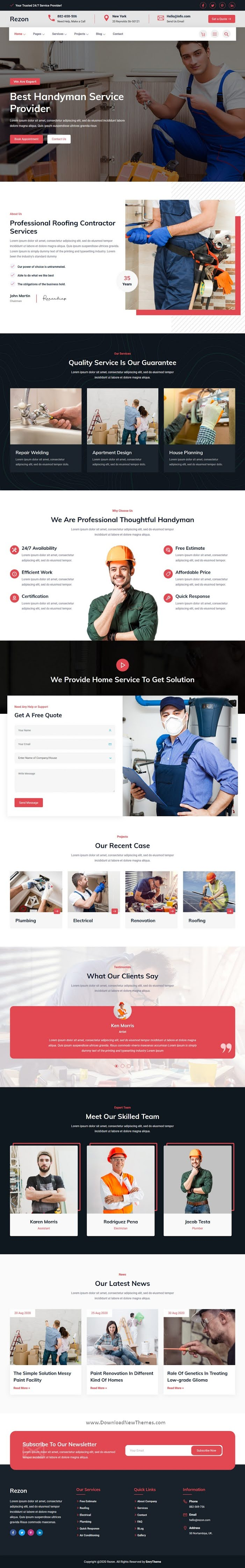 Renovation & Maintenance Services Website Theme