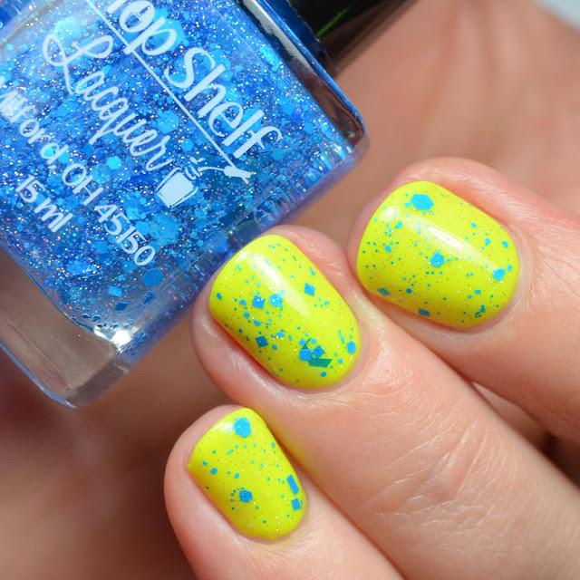 neon blue glitter nail polish