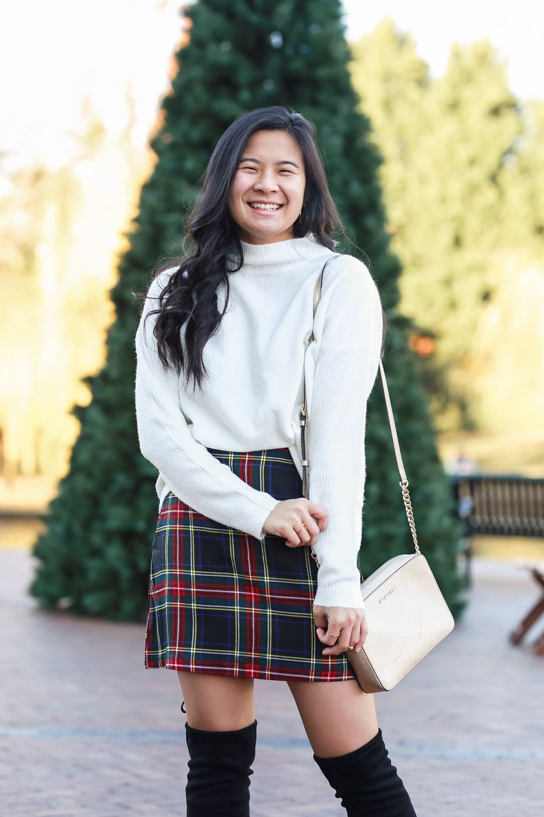 Winter holiday plaid outfit