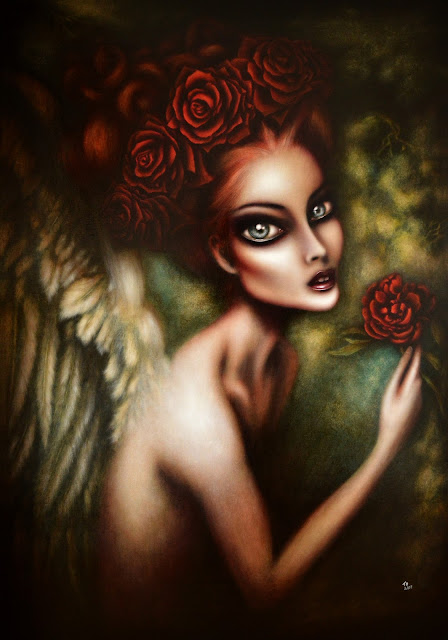 painting angel gabriel in a forest with a red flower in the hand by tiago azevedo a lowbrow pop surrealism artist