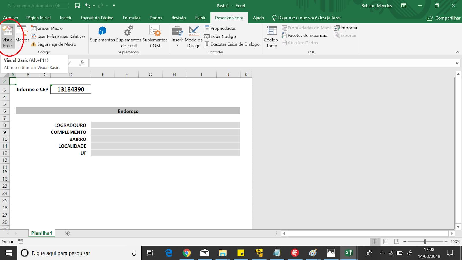 Consumindo Web Service com Excel para consultar endereços