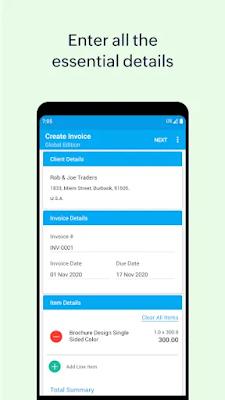 Screenshot Free Invoice Generator - Apcoid