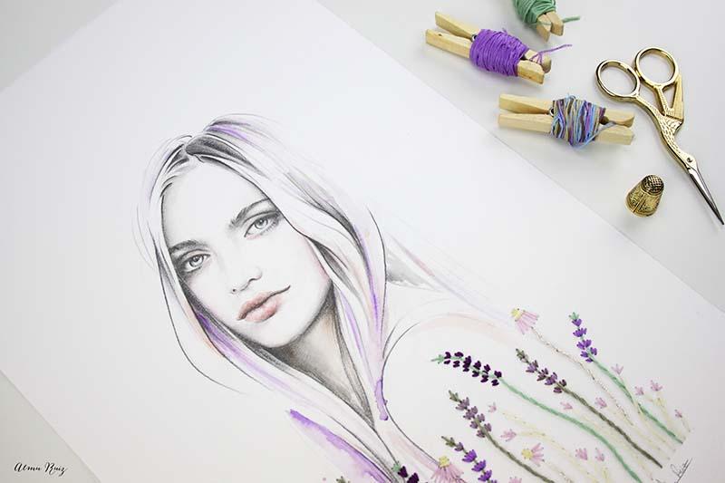 Ilustración a lápiz, acuarela y bordado sobre papel