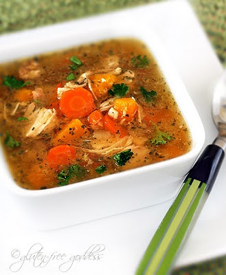 Gluten-Free Slow Cooker Turkey Soup from Gluten Free Goddess featured on SlowCookerFromScratch.com.