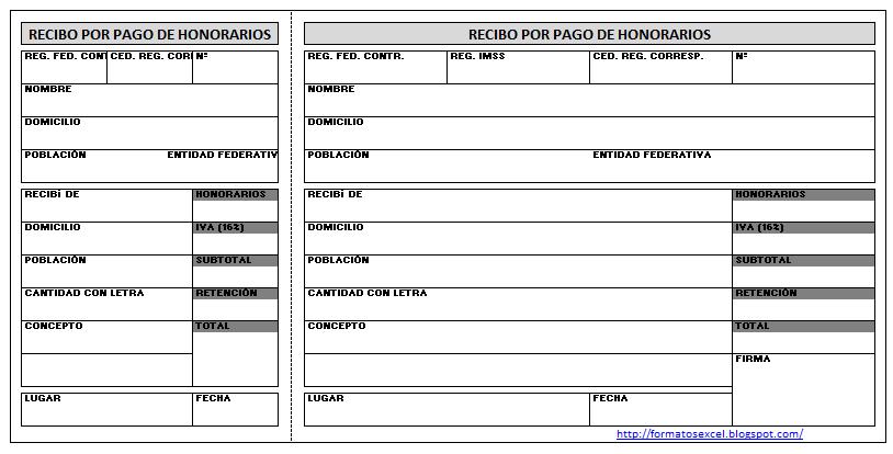 FORMATOS EN EXCEL Recibo de Honorarios - formatos de excel gratis