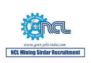NCL Mining Sirdar Recruitment 2020