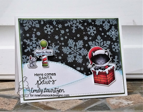 Here Comes Santa Paws by Emily features Snowfall stencil and Santa Paws Newton by Newton's Nook Designs; #newtonsnook