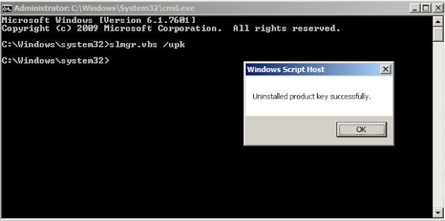 Xóa key đã kích hoạt cho máy tính win7