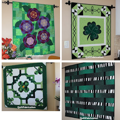 four green themed wall hangings