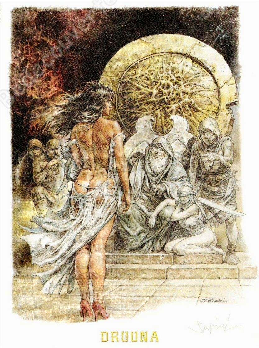 Druuna is frequently depicted as sparsely clothed or nude, and Serpieri's high quality renditions of her are often reproduced as poster prints.
