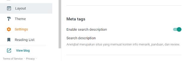 enable search description in blogger