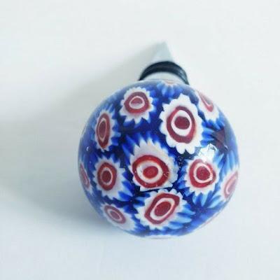 Glass Bottle Stopper Sphere Metal Millefiori art