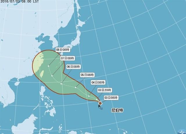 Perkembangan Badai Nepartak yang Menuju Taiwan Saat Ini dan Akan Sampai Pada Hari Berikut Ini