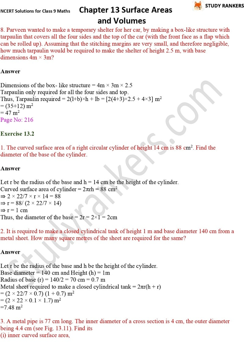 NCERT Solutions for Class 9 Maths Chapter 13 Surface Areas and Volumes Part 4