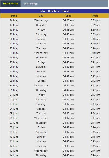 Ramadan Calendar 2018 Ethiopia