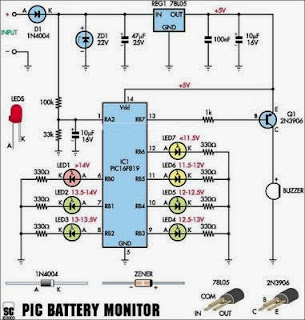 A Car Battery Monitor Electronic Circuits Diagram