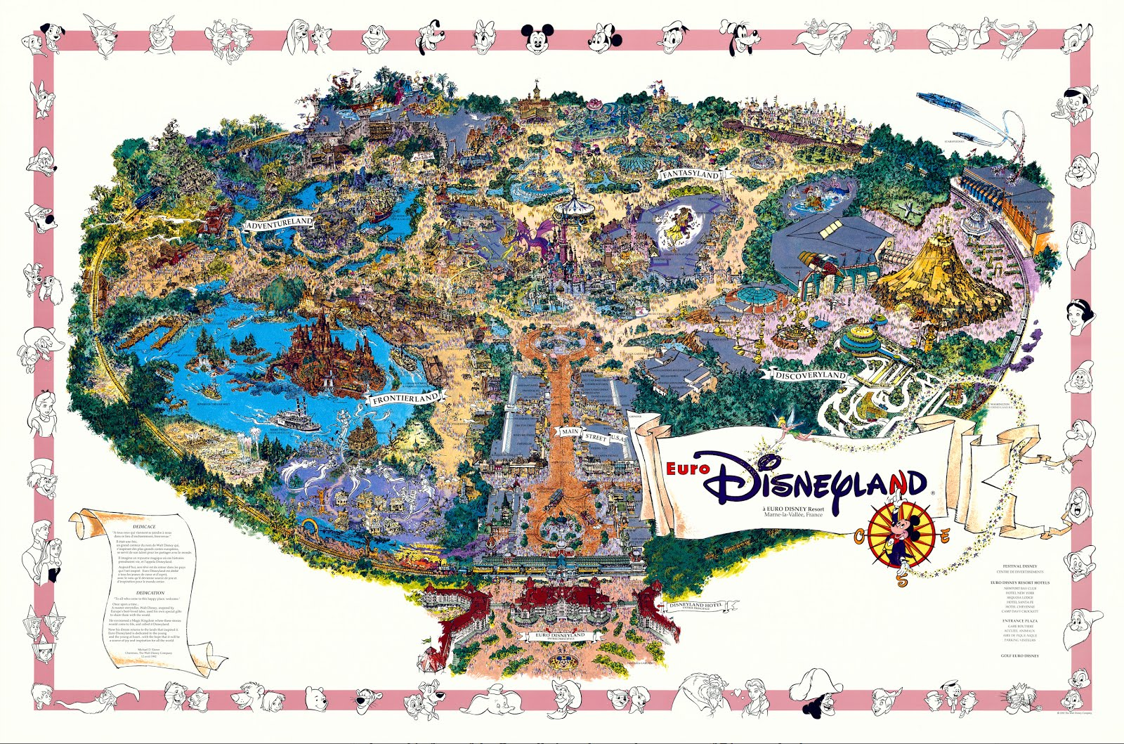 Original 1992 Disneyland Paris Fun Map In Hyper Resolution