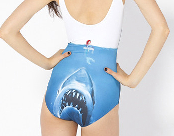 Ariel vs Jaws one piece swimsuit, back - if it's hip, it's here