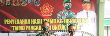 Penyerahan Hasil Kegiatan TNI Manunggal Membangun Desa ke-109 TA. 2020