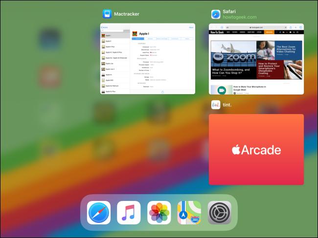 مبدّل التطبيقات على جهاز iPad بعد إغلاق التطبيق.