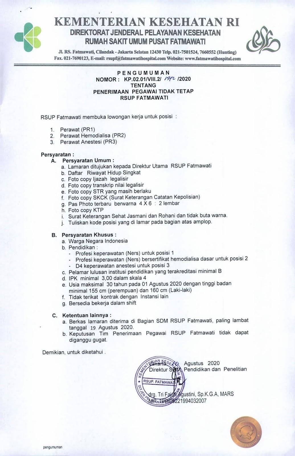 Lowongan Kerja Rumah Sakit Umum Pusat Rsup Fatmawati Bulan Agustus 2020 Rekrutmen Lowongan Kerja Bulan Februari 2021