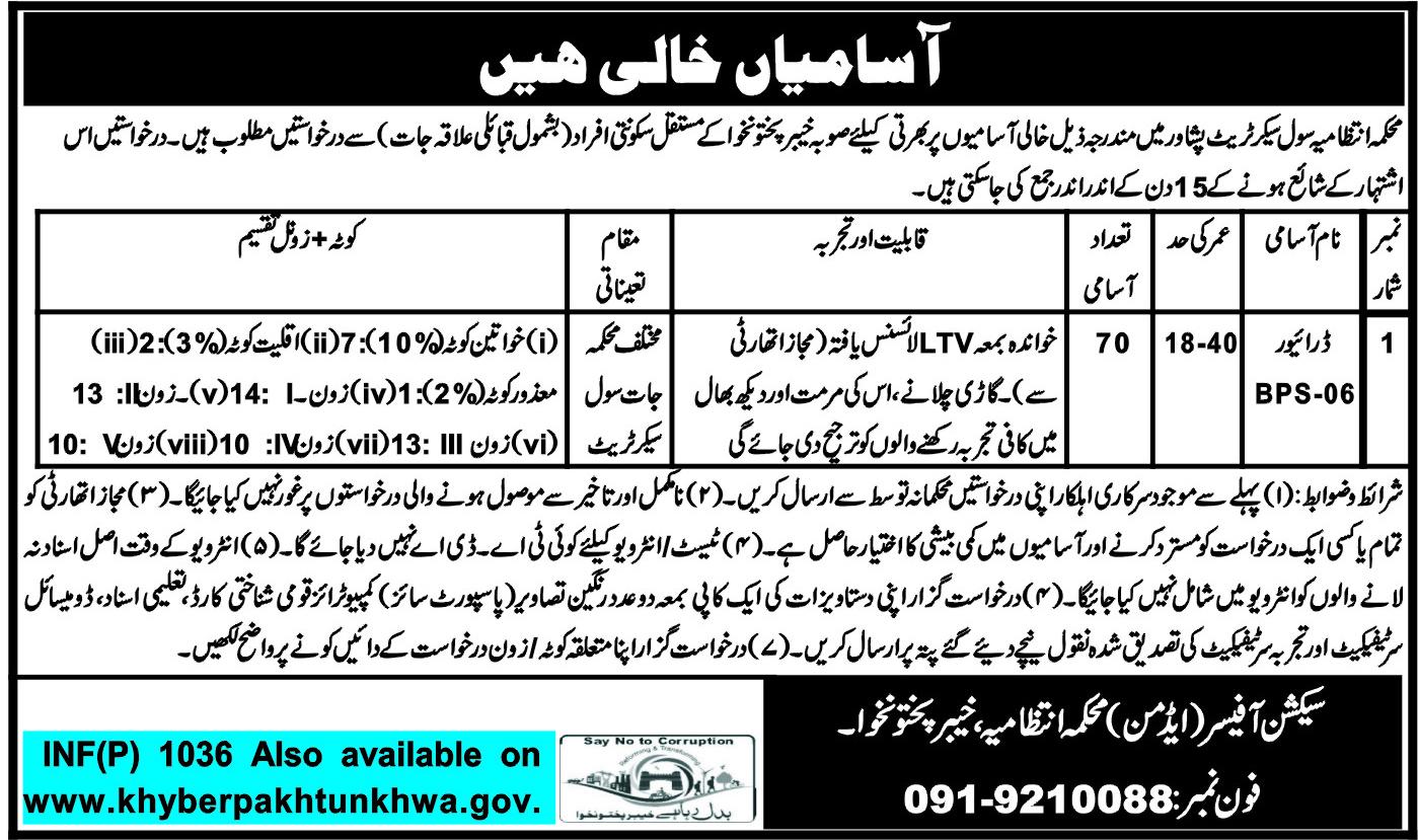 Jobs In Civil Secretariat Khyber Pakhtunkhwa Peshawar 2018 for 70 Vacancies