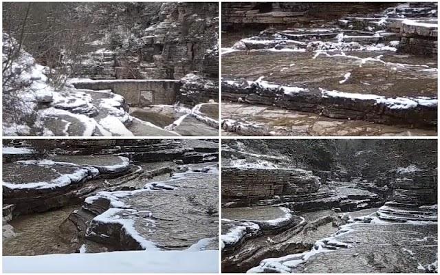 """Οι χιονισμένες """"Κολυμπήθρες"""" στο Πάπιγκο (ΒΙΝΤΕΟ)"""