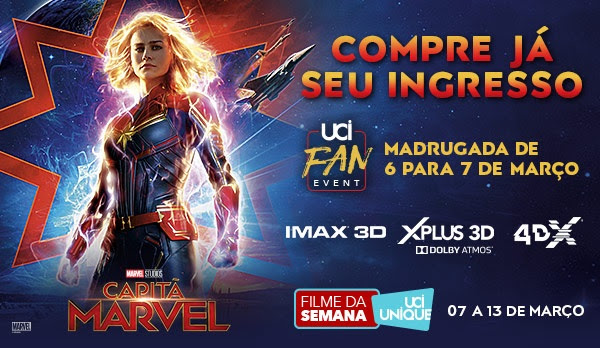 f877cb1bef316 UCI abre pré-venda de  Capitã Marvel  com sessões Fan Event