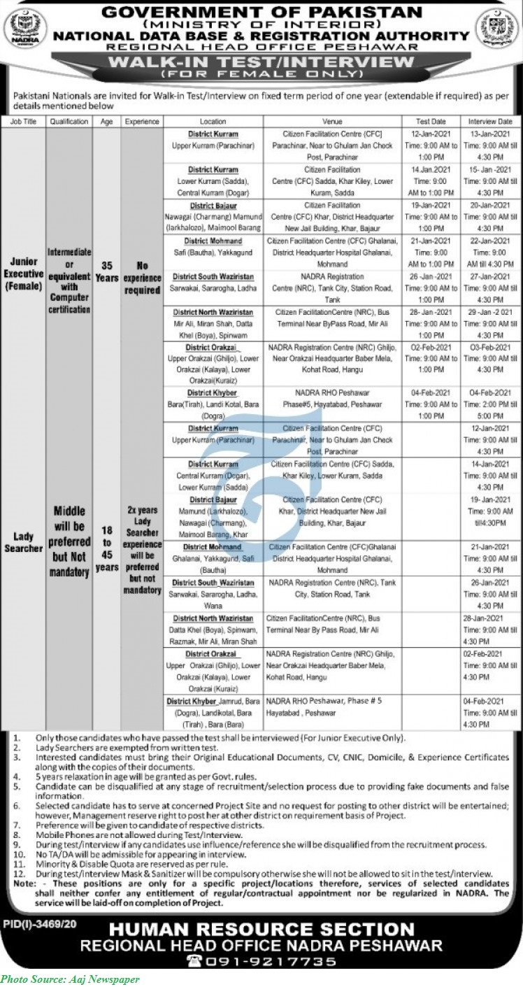 NADRA Jobs  2021 - Latest Jobs in NADRA KPK January 2021 Latest Advertisement