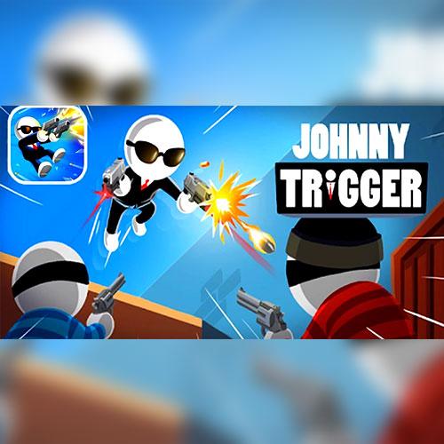 في لعبة جوني الزناد الشخصية الرئيسية تتحرك تلقائيا إلى الأمام وتطلق تلقائيا بمجرد وصول الأعداء في معظم الحالات تجعل شخصية اللعبة قفزة احترافية لإطلاق النار في الهواء