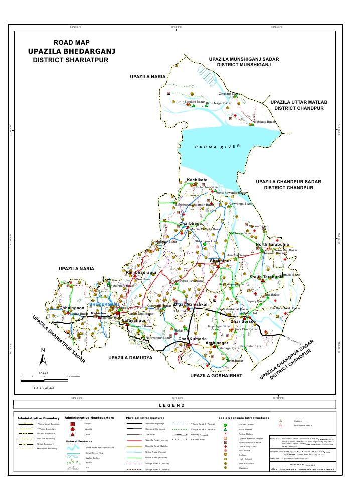 Bhedarganj Upazila Road Map Shariatpur District Bangladesh