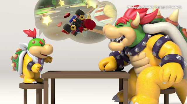 Nintendo Switch Parental Controls Bowser Bowser Jr. discussing Mario Kart 8 Deluxe red shell laughing table stools