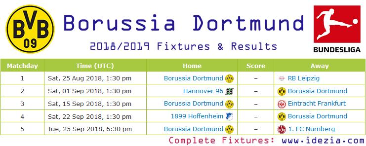 Baixar calendário completo PNG JPG Borussia Dortmund 2018-2019