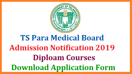 Telangana State Paramedical Board Released Admission Notification to get Admission into various Para Medical Courses for the Academic year 2019-20. Download Application Form here to Apply for Telangana Paramedical courses in Govt Medical Colleges. Notification released to invite Applications forms from eligible candidates belongs to the Telangana State who have passed Intermediate with Bi.PC Group are invited for admission into all two years duration Para Medical Diploma Courses for the Academic year 2019-20 in the State of Telangana. telangana-ts-para-medical-diploma-courses-admission-notification-download-application-form
