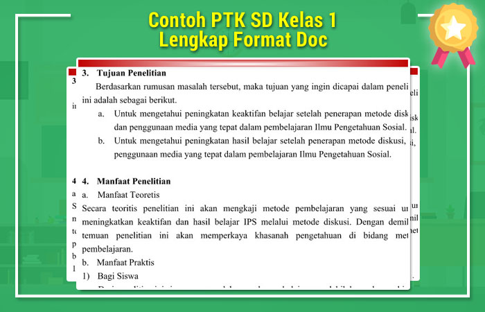 Contoh PTK SD Kelas 1 Lengkap Format Doc