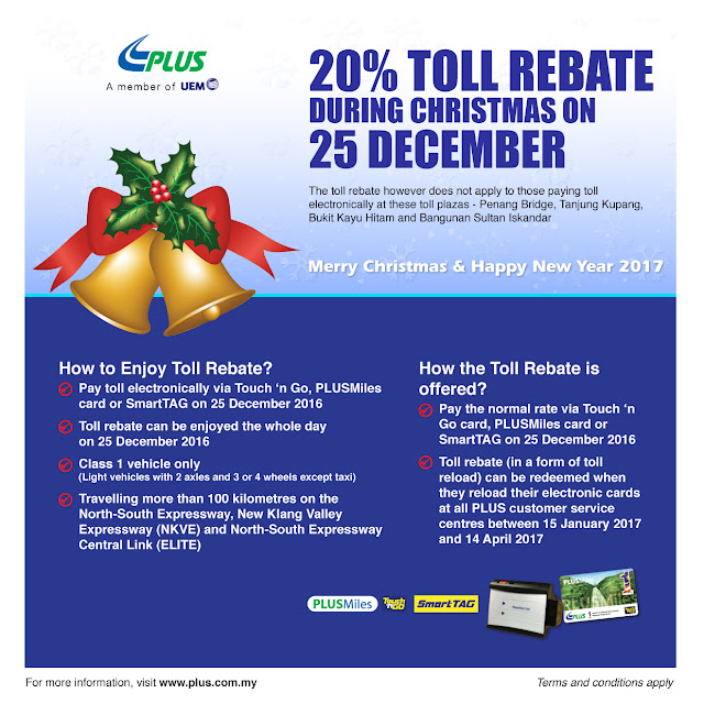 PLUS Highway Toll Rebate Electronic Transaction Christmas Holiday