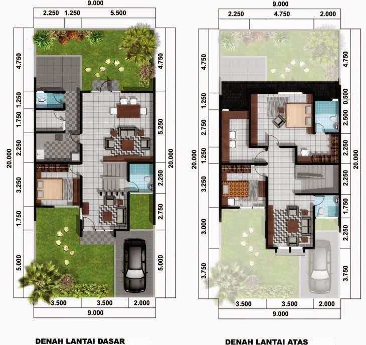 9 Contoh Denah Rumah Minimalis 2 Lantai Type 60 dengan gambarnya